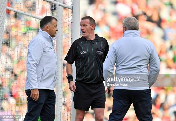 Dublin , Ireland - 11 September 2021; Referee Joe McQuillan consults with his umpires before rewarding Mayo a free-kick late in the first half during...