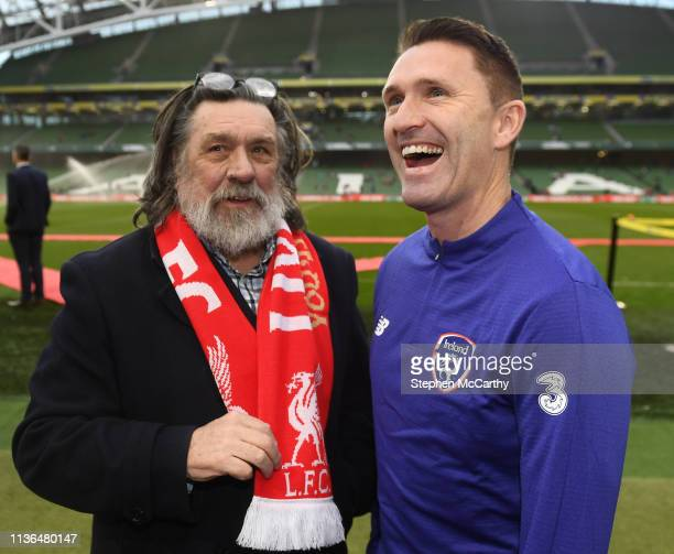 Dublin , Ireland - 12 April 2019; Actor Ricky Tomlinson with Robbie Keane of Republic of Ireland XI prior to the Sean Cox Fundraiser match between...
