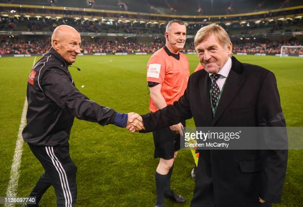Dublin Ireland 12 April 2019 Liverpool FC Legends manager Kenny Dalglish and fourth official Paul Tuite following the Sean Cox Fundraiser match...