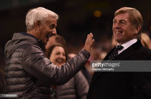 Dublin Ireland 12 April 2019 Liverpool FC Legends manager Kenny Dalglish and Ian Rush left during the Sean Cox Fundraiser match between the Republic...