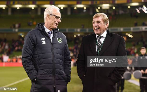 Dublin Ireland 12 April 2019 Republic of Ireland manager Mick McCarthy and Liverpool FC Legends manager Sir Kenny Dalglish following the Sean Cox...