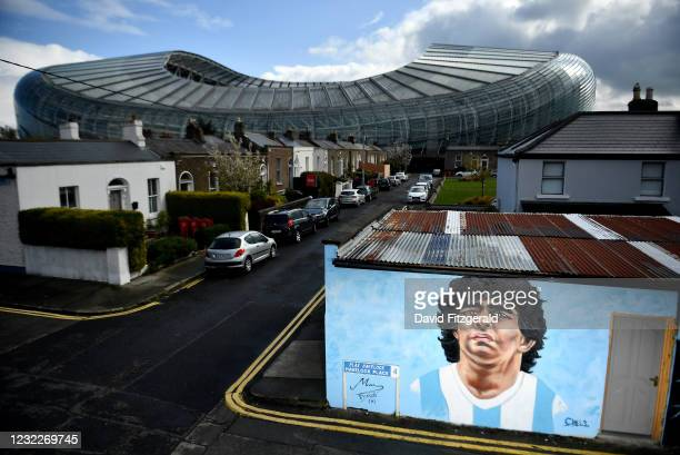 Dublin , Ireland - 12 April 2021; A mural by Dublin artist Chelsea Jacobs depicting the late Argentine footballer Diego Maradona at Havelock Square...