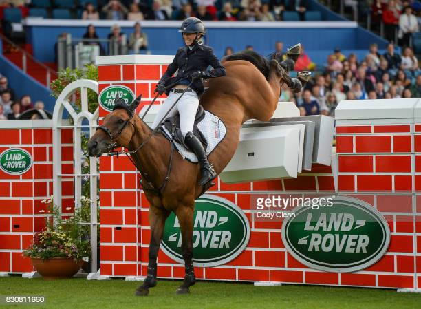 Dublin Ireland 12 August 2017 Harriett Nuttall of Great Britain fails to clear the obstacle on Duff ìn the Land Rover Puissance during the Dublin...