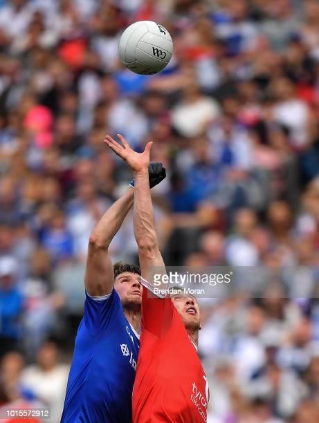 Dublin Ireland 12 August 2018 Colm Cavanagh of Tyrone right and Darren Hughes of Monaghan contests a throw ball during the GAA Football AllIreland...