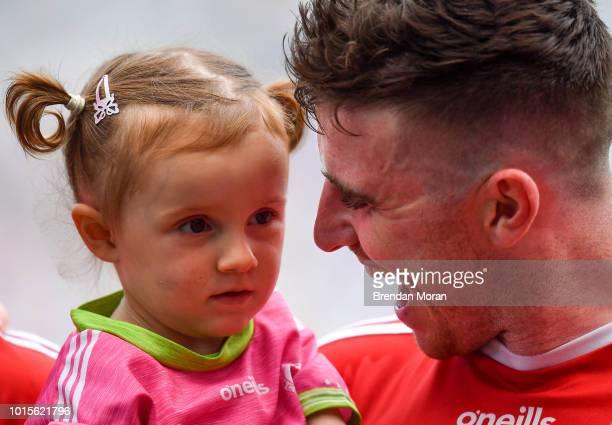 Dublin Ireland 12 August 2018 Connor McAliskey of Tyrone celebrates with his niece Grace Colhoun after the GAA Football AllIreland Senior...
