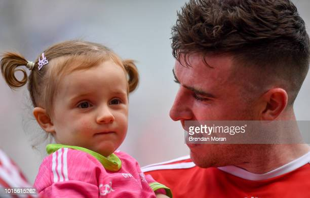 Dublin Ireland 12 August 2018 Connor McAliskey of Tyrone with his niece Grace Colhoun after the GAA Football AllIreland Senior Championship semifinal...