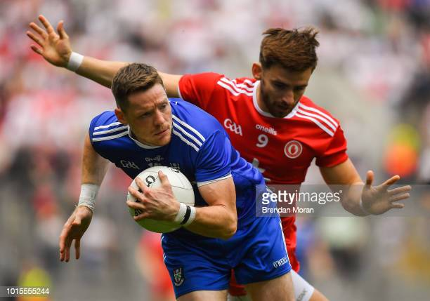 Dublin Ireland 12 August 2018 Conor McManus of Monaghan in action against Padraig Hampsey of Tyrone during the GAA Football AllIreland Senior...