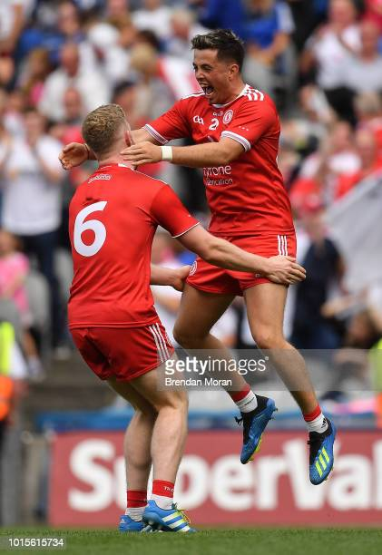 Dublin Ireland 12 August 2018 Frank Burns left and Ronan O'Neill of Tyrone celebrate at the final whistle of the GAA Football AllIreland Senior...