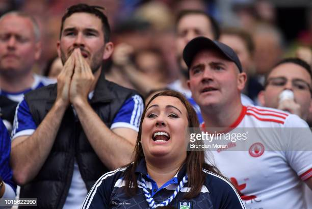 Dublin Ireland 12 August 2018 Monaghan and Tyrone supporters watch the final moments of the GAA Football AllIreland Senior Championship semifinal...