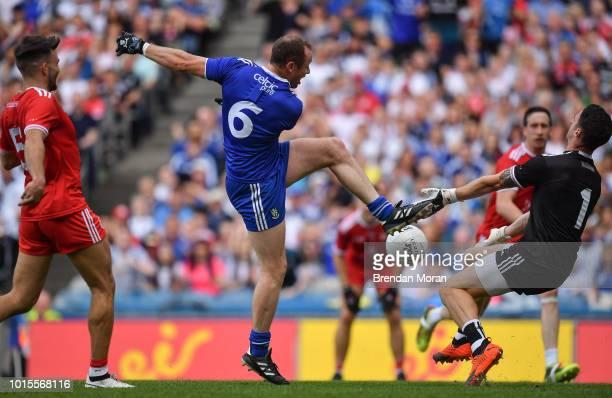 Dublin Ireland 12 August 2018 Niall Morgan of Tyrone makes a save from Vinny Corey of Monaghan during the GAA Football AllIreland Senior Championship...