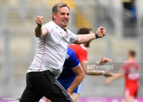 Dublin Ireland 12 August 2018 Tyrone assistant manager Gavin Devlin celebrates at the final whistle of the GAA Football AllIreland Senior...