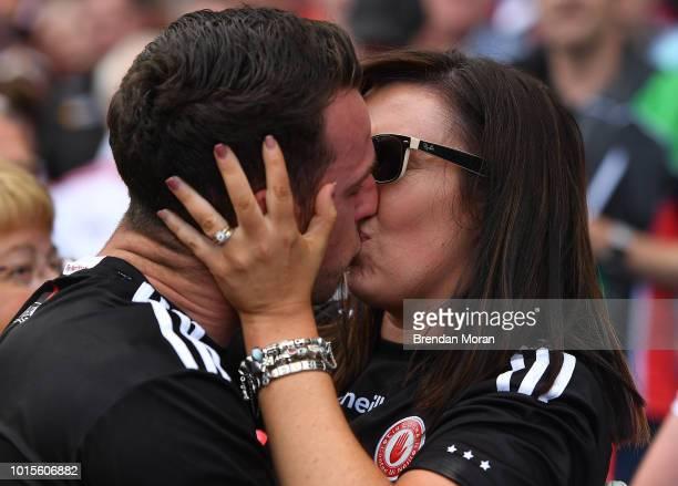 Dublin Ireland 12 August 2018 Tyrone goalkeeper Niall Morgan of Tyrone shares a kiss with his wife Ciara after the GAA Football AllIreland Senior...