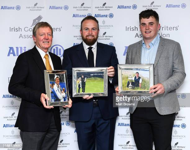 Dublin Ireland 12 December 2019 Shane Lowry with the Professional Player of the Year award for 2019 award with Des Smyth with the award for...