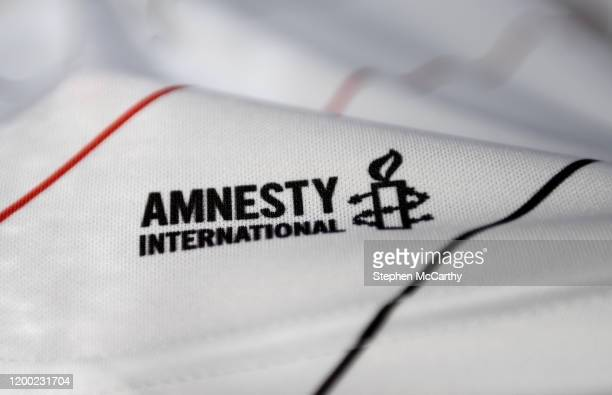 Dublin , Ireland - 12 February 2020; A detailed view of the Amnesty International logo during the launch of the Bohemians FC 2020 away jersey at...