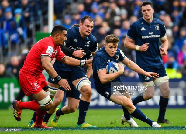 Dublin Ireland 12 January 2019 Garry Ringrose of Leinster in action against Jerome Kaino of Toulouse during the Heineken Champions Cup Pool 1 Round 5...