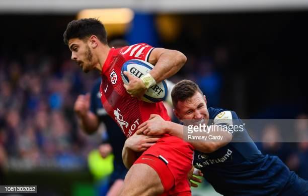 Dublin Ireland 12 January 2019 Romain Ntamack of Toulouse is tackled by Rory O'Loughlin of Leinster during the Heineken Champions Cup Pool 1 Round 5...