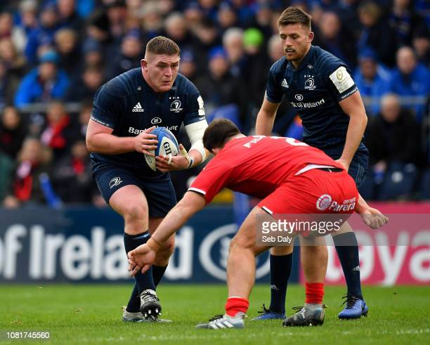 Dublin Ireland 12 January 2019 Tadhg Furlong of Leinster in action against Julien Marchand of Toulouse during the Heineken Champions Cup Pool 1 Round...