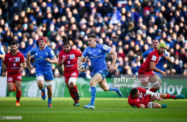 Dublin Ireland 12 January 2020 Garry Ringrose of Leinster makes a break during the Heineken Champions Cup Pool 1 Round 5 match between Leinster and...