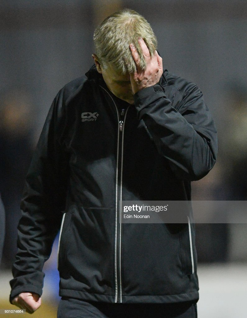 Dublin , Ireland - 12 March 2018; Dundalk manager Stephen Kenny dejected after the SSE Airtricity League Premier Division match between St Patrick's Athletic and Dundalk at Richmond Park in Dublin.