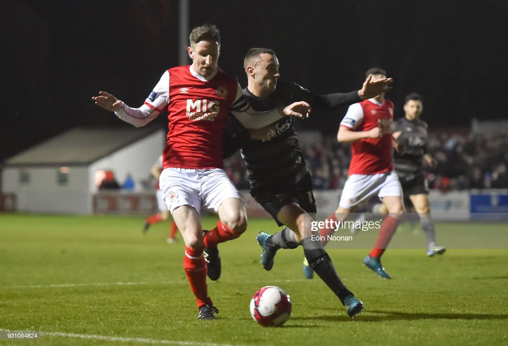 Dublin , Ireland - 12 March 2018; Ian Bermingham of St Patrick's Athletic in action against Dylan Connolly of Dundalk during the SSE Airtricity League Premier Division match between St Patrick's Athletic and Dundalk at Richmond Park in Dublin.