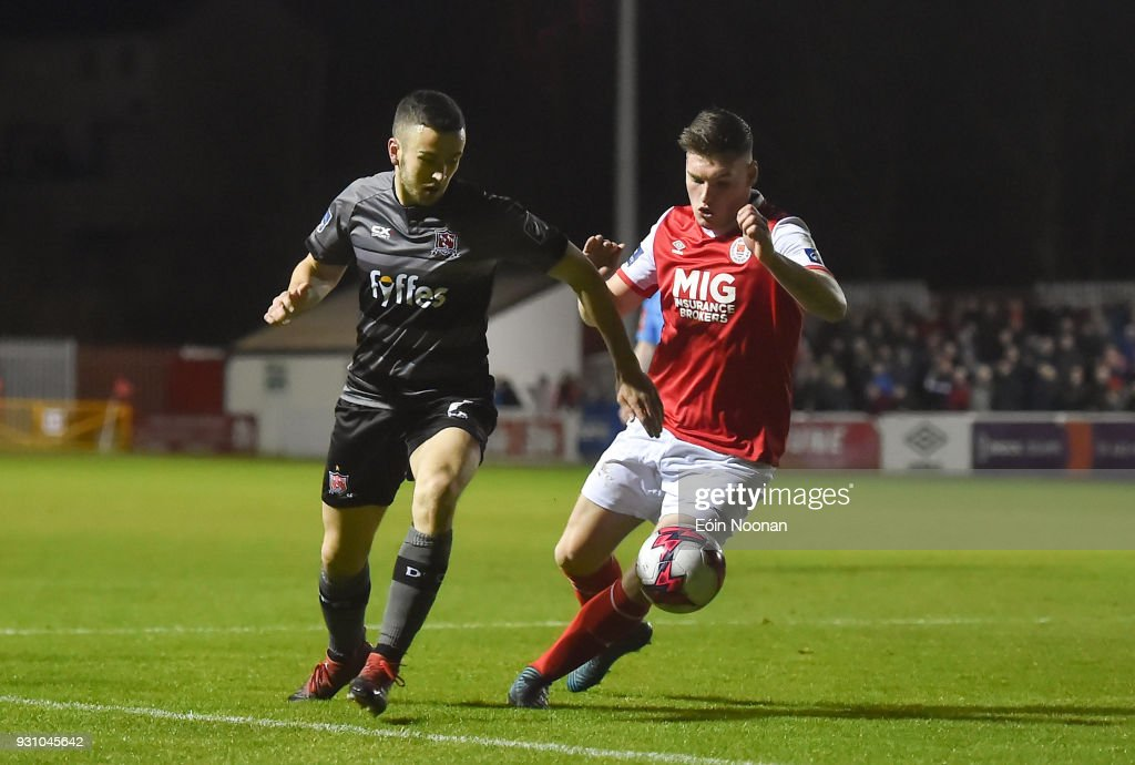 Dublin , Ireland - 12 March 2018; Michael Duffy of Dundalk in action against Kevin Toner of St Patrick's Athletic during the SSE Airtricity League Premier Division match between St Patrick's Athletic and Dundalk at Richmond Park in Dublin.