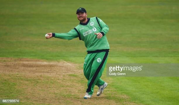 Dublin Ireland 12 May 2017 Paul Stirling of Ireland fields the cricket ball during the International between Ireland and Bangladesh at Malahide in Co...