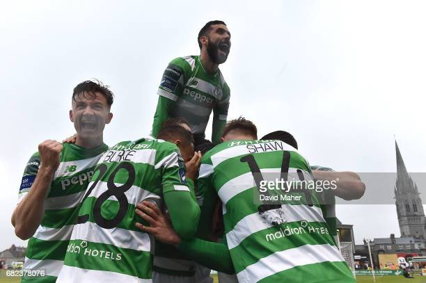Dublin IReland 12 May 2017 Shamrock Rovers players from left to right Ronan Finn Graham Burke David Webster and Gary Shaw celebrate after Brandon...