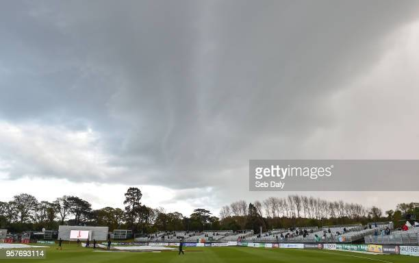 Dublin Ireland 12 May 2018 A general view of clouds over the ground as bad light stops play during day two of the International Cricket Test match...