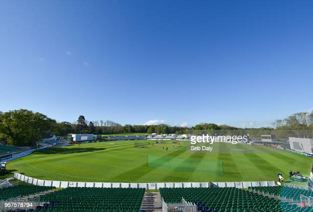 Dublin Ireland 12 May 2018 A general view of the ground as players warmup prior to play on day two of the International Cricket Test match between...