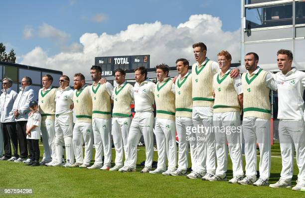 Dublin Ireland 12 May 2018 Ireland players during the national anthem prior to play on day two of the International Cricket Test match between...