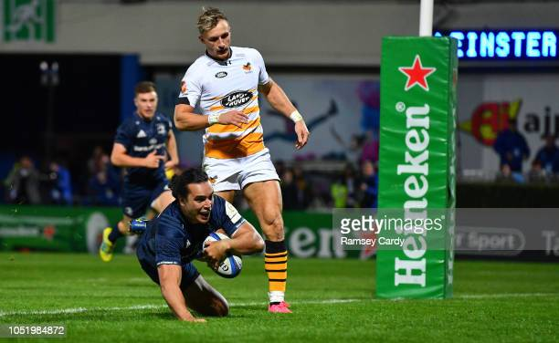 Dublin Ireland 12 October 2018 James Lowe of Leinster dives over to score his side's third try during the Heineken Champions Cup Pool 1 Round 1 match...