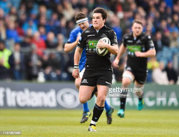 Dublin Ireland 13 April 2019 Sam Johnson of Glasgow Warriors breaks clear on his way to scoring his side's first try during the Guinness PRO14 Round...