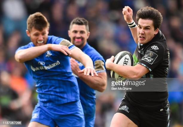 Dublin Ireland 13 April 2019 Sam Johnson of Glasgow Warriors breaks clear from a tackle by Ross Byrne of Leinster on his way to scoring his side's...