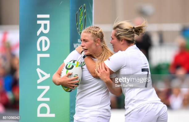 Dublin Ireland 13 August 2017 Alex Matthews of England is congratulated by Marlie Packer left after scoring her sides second try during the 2017...