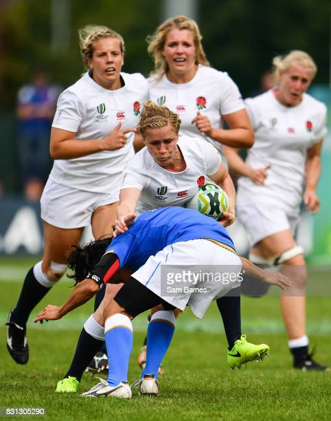 Dublin Ireland 13 August 2017 Danielle Waterman of England in action against Sara Barattin of Italy during the 2017 Women's Rugby World Cup Pool B...