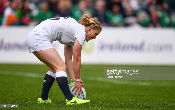 Danielle Waterman of England scores a try during the 2017 Women's Rugby World Cup Pool B match between England and Italy at Billings Park in UCD...