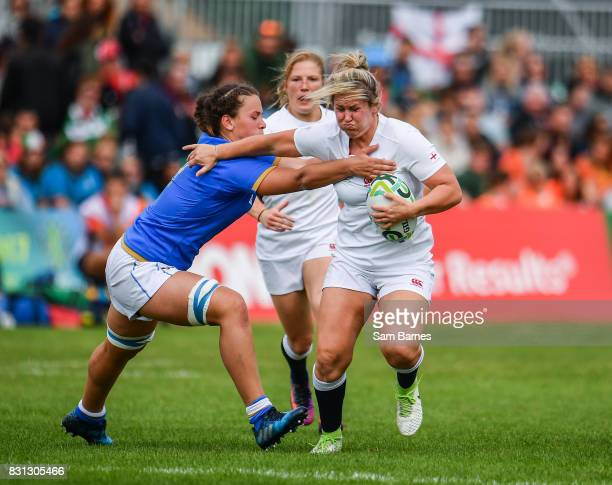 Dublin Ireland 13 August 2017 Marlie Packer of England in action against Valeria Fedrighi of Italy during the 2017 Women's Rugby World Cup Pool B...