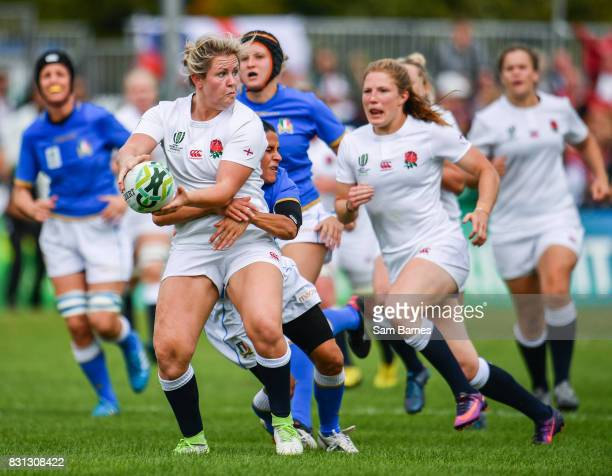 Dublin Ireland 13 August 2017 Marlie Packer of England in action against Sara Barattin of Italy during the 2017 Women's Rugby World Cup Pool B match...