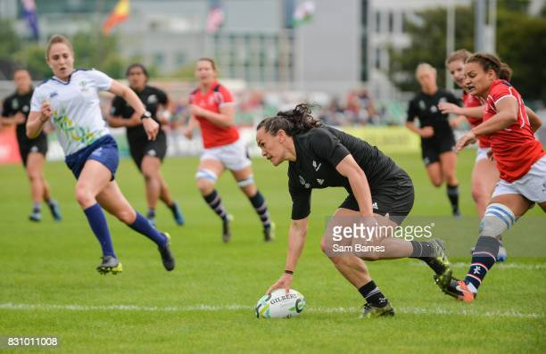 Dublin , Ireland - 13 August 2017: Portia Woodman of New Zealand goes over to score a try during the 2017 Women's Rugby World Cup Pool A match...