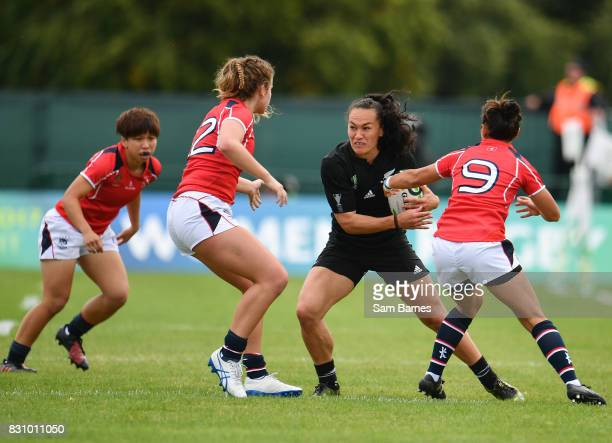 Dublin , Ireland - 13 August 2017: Portia Woodman of New Zealand in action against Jessica Ho, right, and Kelsie Bouttle of Hong Kong during the 2017...