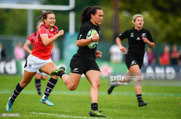 Dublin , Ireland - 13 August 2017: Portia Woodman of New Zealand New Zealand during the 2017 Women's Rugby World Cup Pool A match between New Zealand...