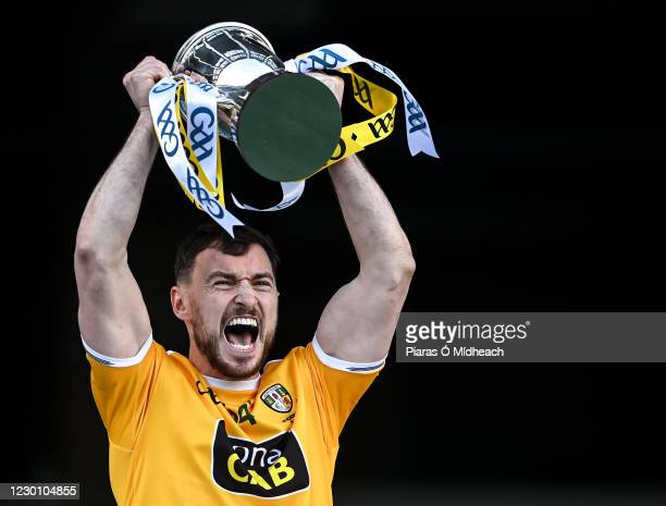 Dublin , Ireland - 13 December 2020; Antrim captain Conor McCann lifts the cup after the Joe McDonagh Cup Final match between Kerry and Antrim at...