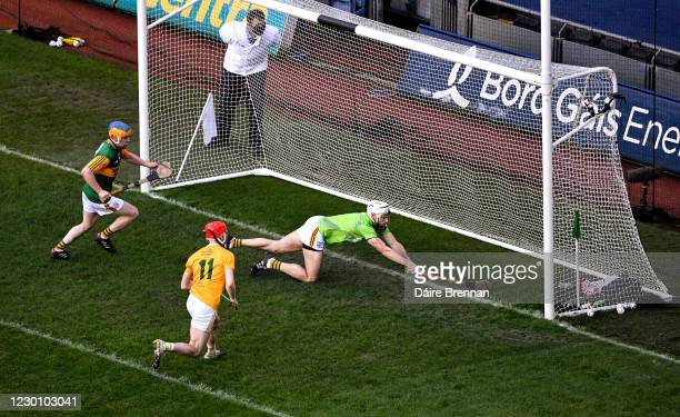Dublin , Ireland - 13 December 2020; John B O'Halloran of Kerry clears the ball from the goalmouth during the Joe McDonagh Cup Final match between...