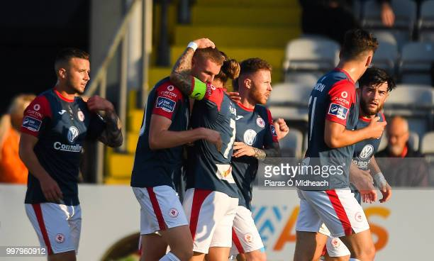 Dublin Ireland 13 July 2018 Jack Keaney of Sligo Rovers second from left celebrates scoring his side's first goal with teammate Rhys McCabe during...