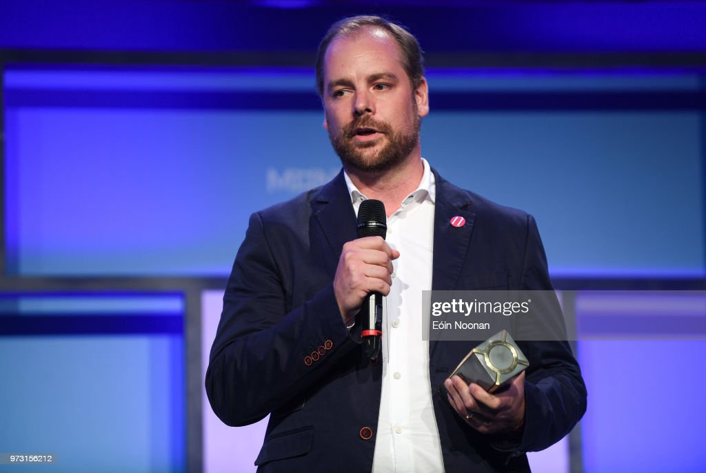 Dublin , Ireland - 13 June 2018; Brad van Leeuwen, Head of Partnerships, Railsbank, winner of the PITCH final, on Centre Stage during day two of MoneyConf 2018 at the RDS Arena in Dublin.