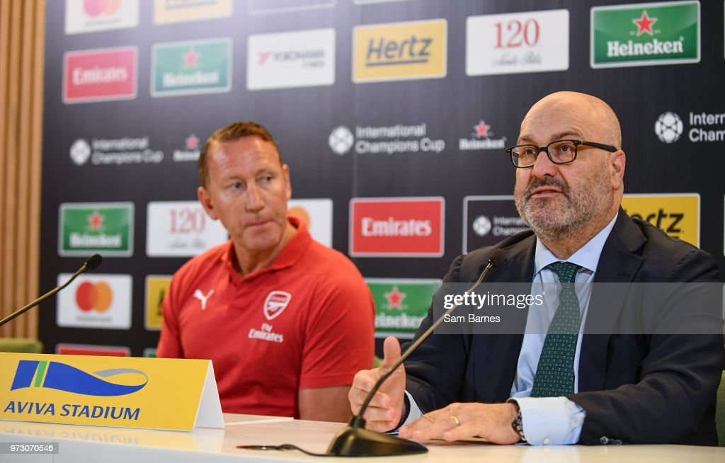 Dublin , Ireland - 13 June 2018; Charlie Stillitano, Executive Chairman, Relevant sports, right, and former Arsenal player Ray Parlour, in attendance during an International Club Game Announcement which will see Arsenal play Chelsea on the 1st of August 2018 at Aviva Stadium, in Dublin.