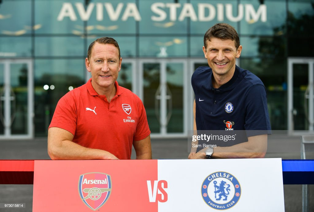 Dublin , Ireland - 13 June 2018; Former Arsenal player Ray Parlour, and former Chelsea player Tore Andre Flo in attendance during an International Club Game Announcement which will see Arsenal play Chelsea on the 1st of August 2018 at Aviva Stadium, in Dublin.