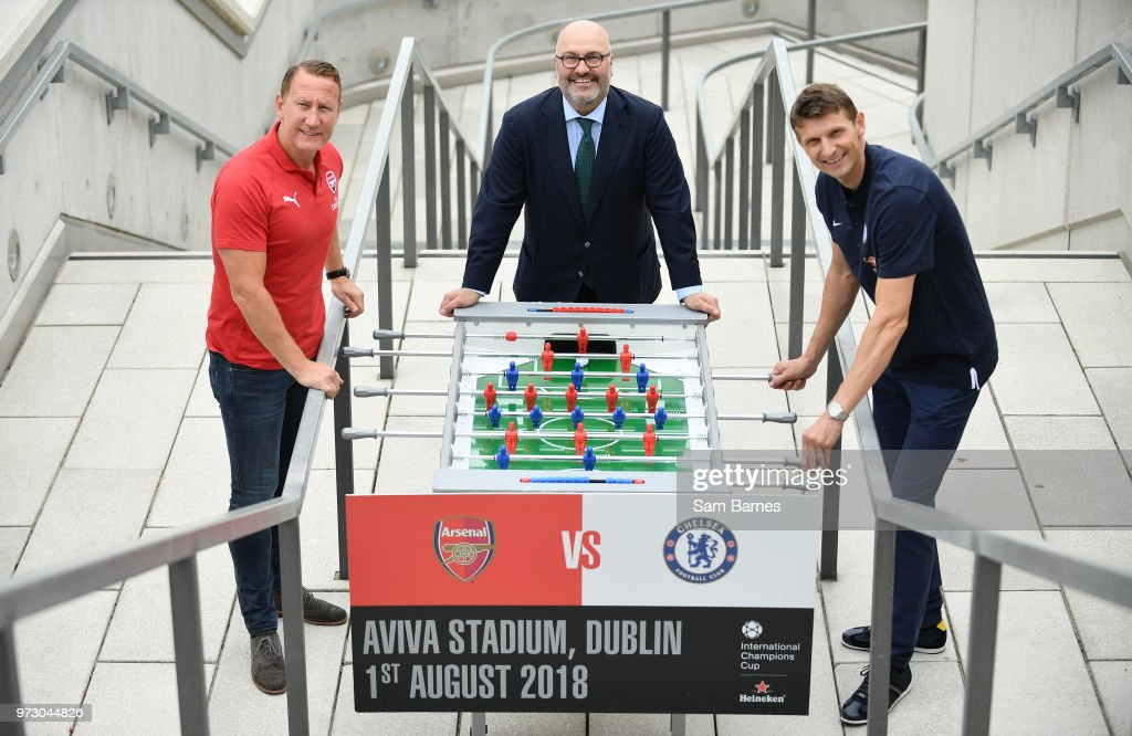 Dublin , Ireland - 13 June 2018; Former Arsenal player Ray Parlour, left, and former Chelsea player Tore André Flo, right, with Charlie Stillitano, Executive Chairman, Relevant sports, in attendance during an International Club Game Announcement which will see Arsenal play Chelsea on the 1st of August 2018 at Aviva Stadium, in Dublin.