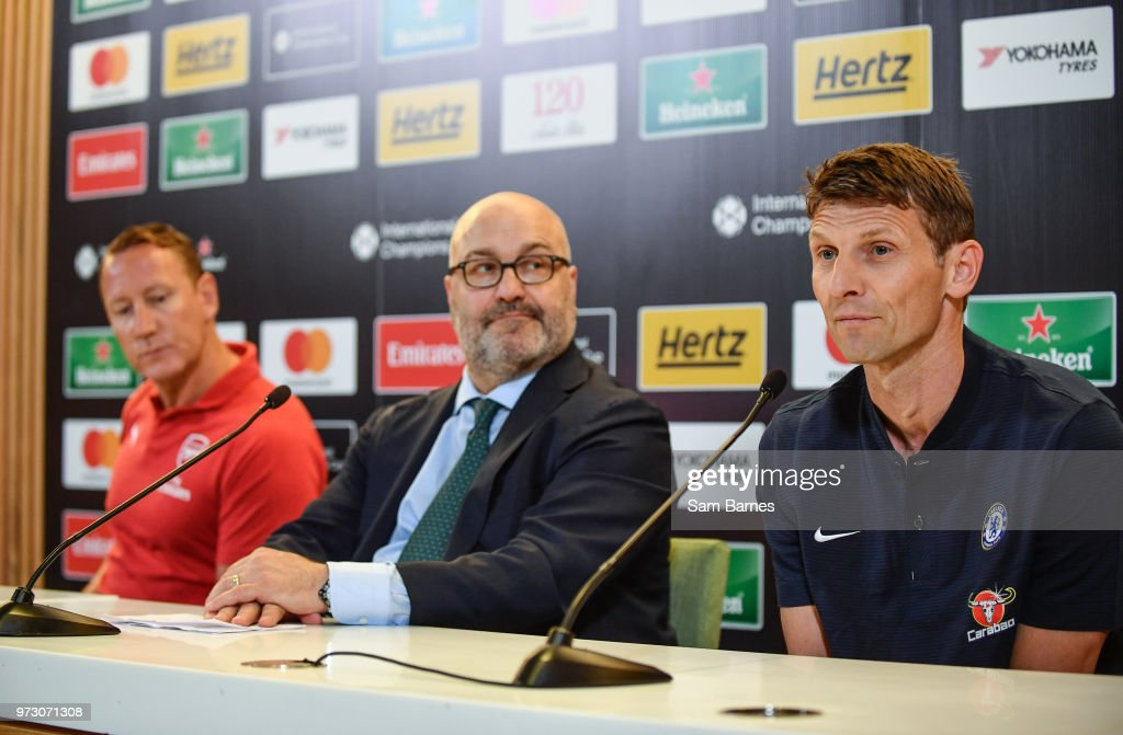 Dublin , Ireland - 13 June 2018; Former Chelsea player Tore André Flo, right, Charlie Stillitano, Executive Chairman, Relevant sports, and former Arsenal player Ray Parlour, left, in attendance during an International Club Game Announcement which will see Arsenal play Chelsea on the 1st of August 2018 at Aviva Stadium, in Dublin.