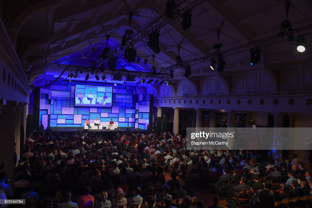 Dublin , Ireland - 13 June 2018; Speakers, from left, Nikolay Storonsky, Founder & CEO, Revolut, Tom Stafford, Managing Partner, DST Global, and Oscar Williams-Grut, Journalist, Business Insider UK, on Centre Stage during day two of MoneyConf 2018 at the RDS Arena in Dublin.